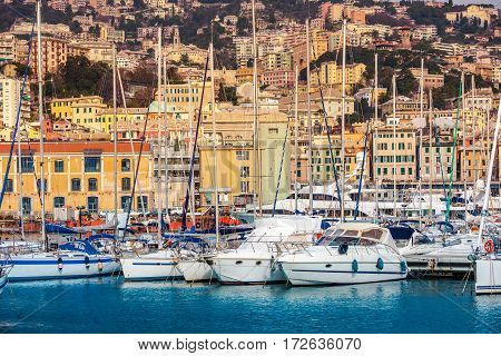Genoa Seaport Yachts and Cityscape. Genoa Capital of Liguria Italy Europe.