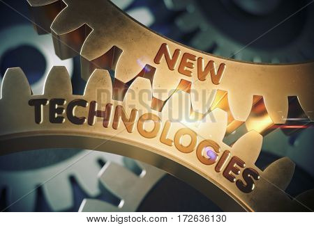 New Technologies - Industrial Design. New Technologies on Mechanism of Golden Metallic Gears with Glow Effect. 3D Rendering.