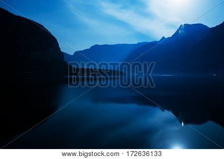 Hallstatter See Hallstatt Austria Europe. Hallstatter Lake Moon Reflections at Night.