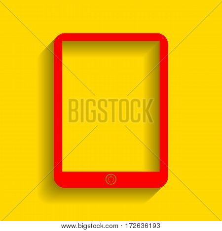 Computer tablet sign. Vector. Red icon with soft shadow on golden background.