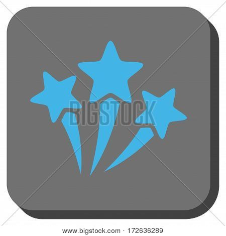 Star Fireworks rounded button. Vector pictogram style is a flat symbol on a rounded square button light blue and gray colors.