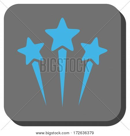 Star Salute interface toolbar icon. Vector pictogram style is a flat symbol in a rounded square button light blue and gray colors.