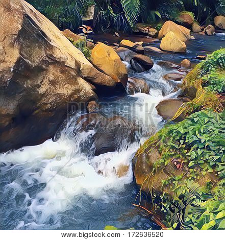 Fresh cold river in forest. Digital illustration of clean pure natural water current. Natural landscape with river stream in stone riverbed. Mossy rocks by the river. River in forest artwork