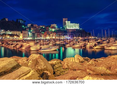 Famous Lerici Reflections. Town of Lerici Bay and the Marina. City Illumination at Night. Province of La Spezia in Italy.