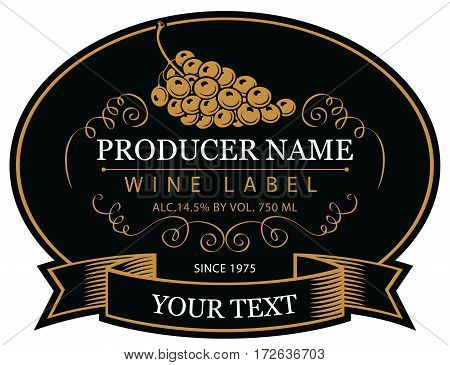 vector labels for wine with grapes in black and gold