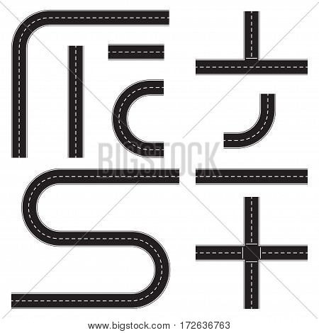 Road construction set. Highway map toolkit. Connectable road elements. Vector illustration of winding road.