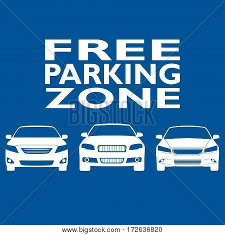 Parking zone sign with car icons isolated on blue background. Free parking concept. Vector illustration.