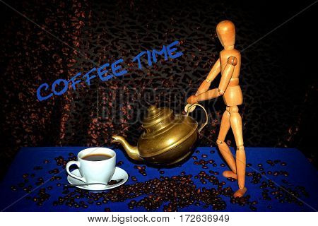 Wooden figure with golden coffee pot gives coffee in white cup on blue tablecloth with coffee beans and dark background with while coffee - time lettering