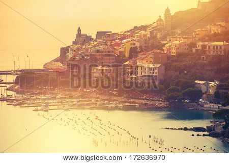 Famous Italian Riviera Portovenere at Sunset. Porto Venere La Spezia Liguria Italy. Part of The Cinque Terre.