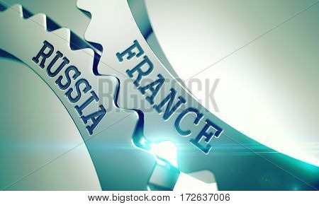 Text France Russia on the Metal Gears - Enterprises Concept. France Russia on Mechanism of Metallic Gears with Glow Effect and Lens Flare - Communication Concept. 3D Illustration.