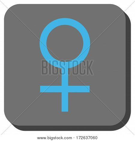 Venus Female Symbol square icon. Vector pictogram style is a flat symbol on a rounded square button light blue and gray colors.