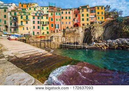 Riomaggiore La Spezia Italy. Colorful Italian Village and Comune in the Province of La Spezia. Liguria Region.