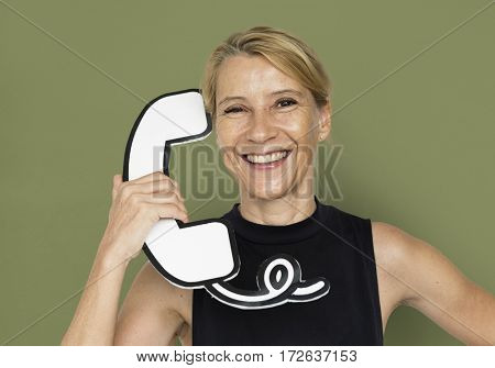 Blond White Woman Hold Telephone Studio Portrait