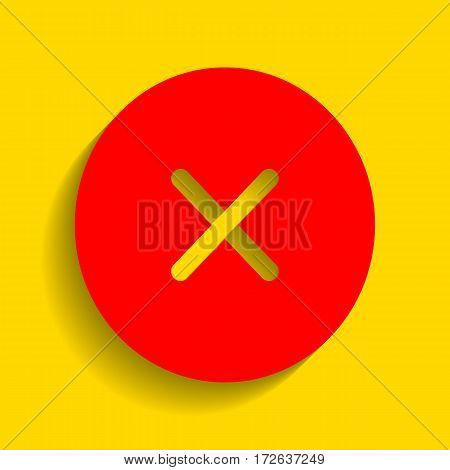 Cross sign illustration. Vector. Red icon with soft shadow on golden background.
