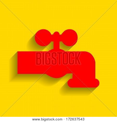 Water faucet sign illustration. Vector. Red icon with soft shadow on golden background.