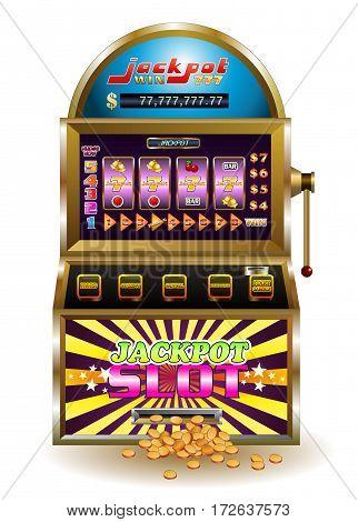 illustration of a big jackpot slot machine on isolated white background