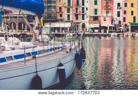 Yacht in Porto Venere Marina in Italy. Mediterranean Sea Yachting Theme.