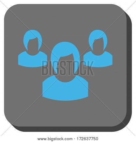 Woman Group rounded icon. Vector pictogram style is a flat symbol inside a rounded square button light blue and gray colors.