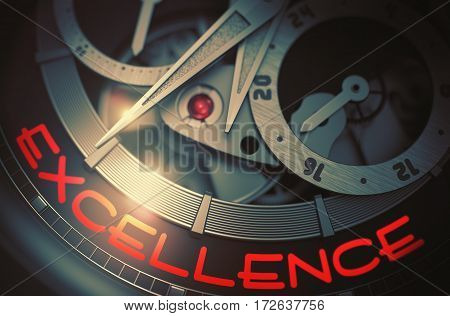 Excellence - Black and White Close Up of Wristwatch Mechanism. Luxury Pocket Watch with Excellence Inscription on Face. Work Concept with Glow Effect and Lens Flare. 3D Rendering.