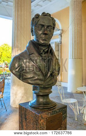 SAINT PETERSBURG RUSSIA-OCTOBER 3 2016. Rossi Pavilion in the Michael Garden and the monument bust to Carlo Rossi - famous Russian architect of Italian origin in Saint Petersburg Russia. Saint Petersburg Russia landmark
