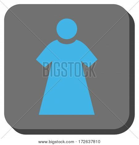 Woman square icon. Vector pictograph style is a flat symbol inside a rounded square button light blue and gray colors.