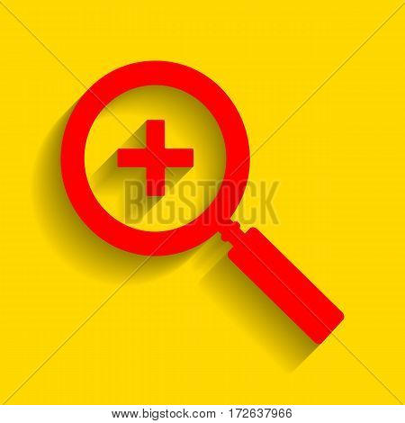 Zoom sign illustration. Vector. Red icon with soft shadow on golden background.