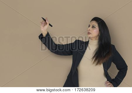 Businesswoman writing and working busy