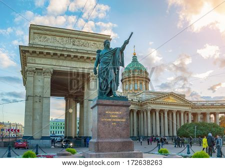 ST PETERSBURG RUSSIA - OCTOBER 3 2016. Monument to Field Marshal Prince Mikhail Kutuzov and Kazan Cathedral in St Petersburg Russia