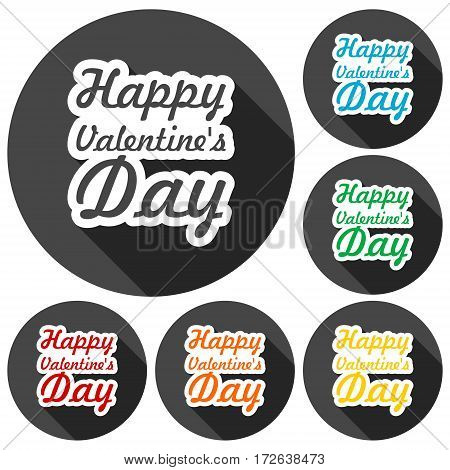 Happy Valentine's day icons set with long shadow