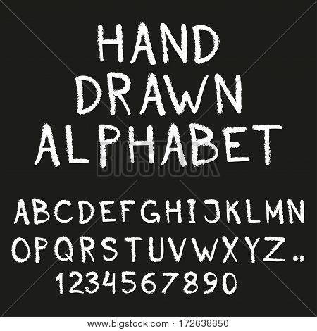 Alphabet. Hand drawn letters and numbers isolated on black background. Vector illustration.