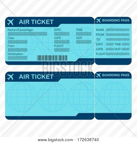Airline or plane ticket template. Detailed boarding pass blank and airplane ticket. Vector illustration.
