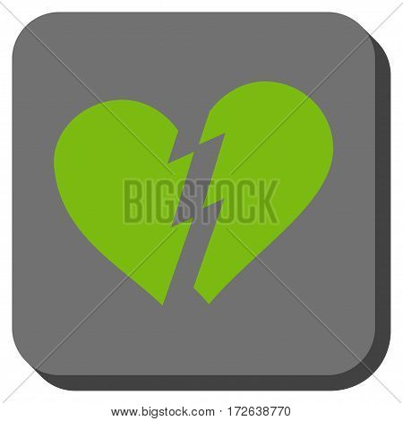 Broken Heart square button. Vector pictograph style is a flat symbol on a rounded square button light green and gray colors.