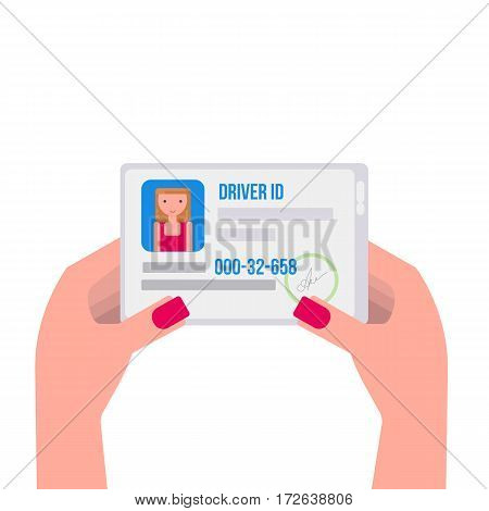 Woman hand holding the id card. Driver license Vector illustration flat design
