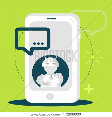 Chatbot business mobile application concept. Chating flat bot in modern style. Vector illustration