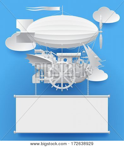 Vintage white paper steampunk template with a complex fantastic flying ship on blue. Web page design in retro style. Contains the Clipping Path