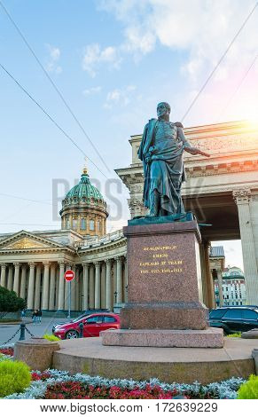 ST PETERSBURG RUSSIA - OCTOBER 3 2016. Monument to Field Marshal Prince Barclay de Tolly on the background of the Kazan Cathedral in St Petersburg Russia