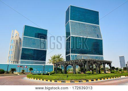 Doha, Qatar - November 2, 2016. Curved residential skyscrapers in West Bay Lagoon in Doha, Qatar.