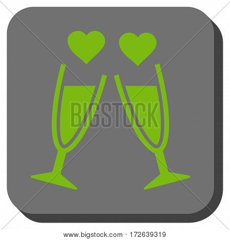 Clink Glasses square button. Vector pictograph style is a flat symbol on a rounded square button light green and gray colors.