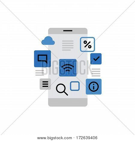 Modern vector icon of smartphone applications app store menu interface and widgets. Premium quality vector illustration concept. Flat line icon symbol. Flat design image isolated on white background.