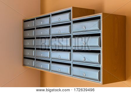 image of mailboxes in an apartment house
