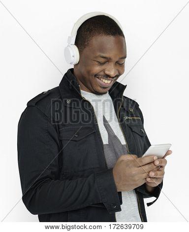 African Man Smiling Happiness Headphones Music Studio Portrait