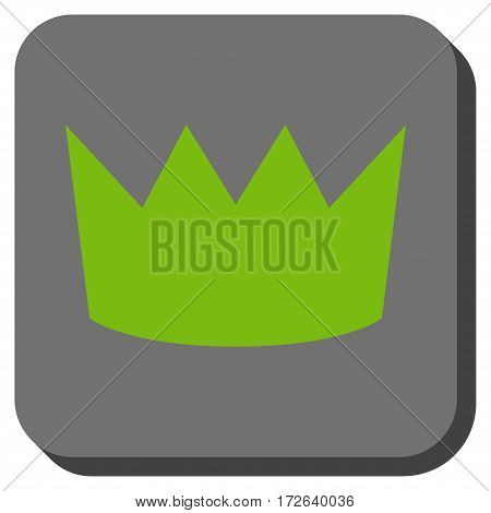 Crown rounded icon. Vector pictogram style is a flat symbol in a rounded square button light green and gray colors.