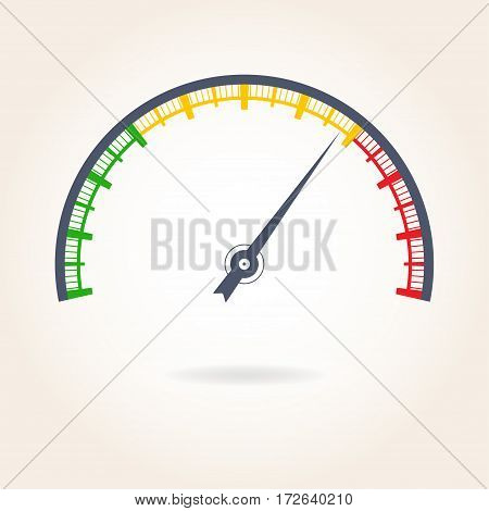 Meter with arrow. Speedometer icon. Colorful gauge element. Vector illustration.