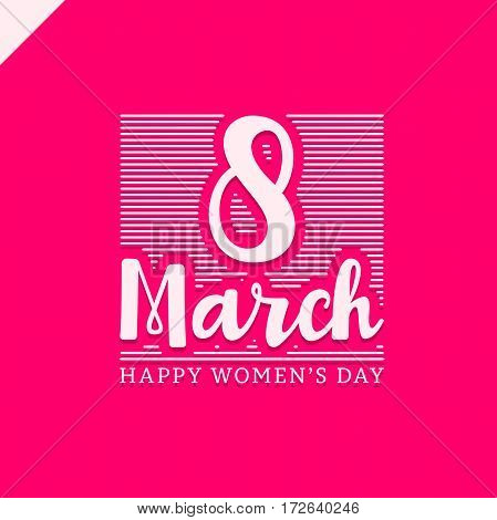 March 8 Happy Womans Day Lettering Greeting Card With Line. Vector Illustration