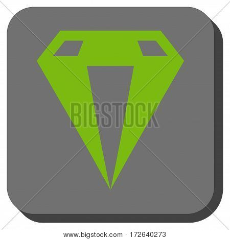Diamond interface toolbar icon. Vector pictogram style is a flat symbol inside a rounded square button light green and gray colors.