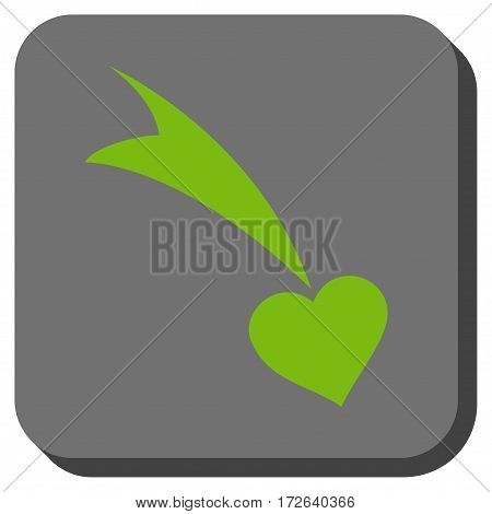 Falling Heart rounded button. Vector pictograph style is a flat symbol inside a rounded square button light green and gray colors.