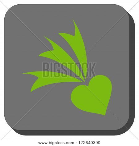 Falling Heart interface toolbar icon. Vector pictogram style is a flat symbol in a rounded square button light green and gray colors.