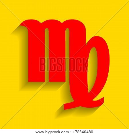 Virgo sign illustration. Vector. Red icon with soft shadow on golden background.