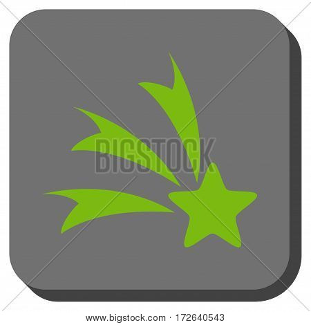 Falling Star rounded button. Vector pictograph style is a flat symbol inside a rounded square button light green and gray colors.