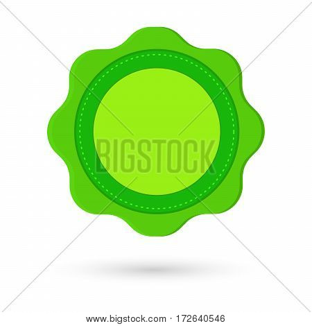 blank label in green vector illustration with shadow